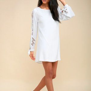 Lulus Bloomfield White Long Sleeve Shift Dress